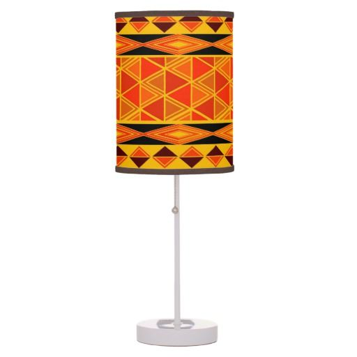 African Tribal Pattern Home Office Lamp, African Table Lamps