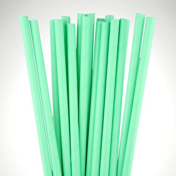 Matt Mint Green Paper Straws