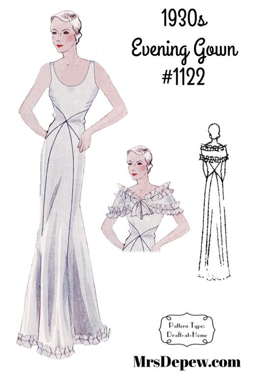 Vintage Sewing Pattern 1930s Evening Or Wedding Gown In Any Size Depew 1122 Plus Size Included Inst Evening Gown Pattern Vintage Sewing Patterns Gown Pattern