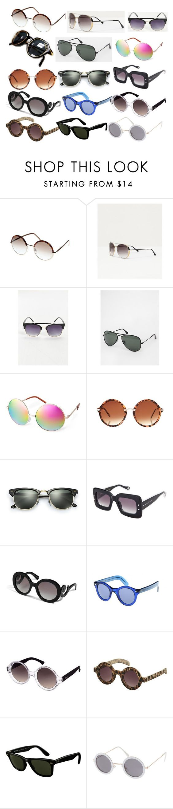 """Sunglasses Masterpost"" by perrieanddaniellestyle ❤ liked on Polyvore featuring Zara, Carrera, Ray-Ban, ASOS, Marc Jacobs, Prada, Quay and Topshop"