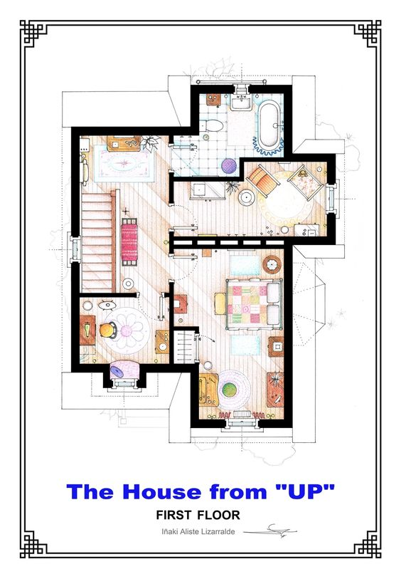 "This is the first floor floorplan of Carl & Ellie's residence from the film ""UP"" by Pixar. It's an original hand drawed plan, in scale, coloured with colour pens and with full details of furniture and complements. If you want to buy an original drawing, especially handmade for you write me to mailto:ializar@hotmail.com or visit my ETSY store.:"