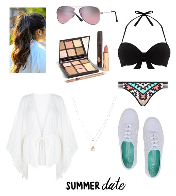 """""""Summer date: beach"""" by ammaarah0503 ❤ liked on Polyvore featuring Keds, Mint Velvet, Seafolly, New Look, Ray-Ban, LC Lauren Conrad, beach and summerdate"""