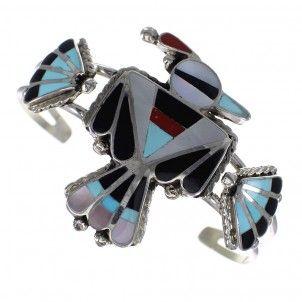Multicolor Inlay Genuine Sterling Silver Zuni Thunderbird Cuff Bracelet RX90070-0