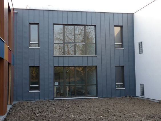 Bardage en zinc bardage clin bois pinterest - Bardage metallique facade ...