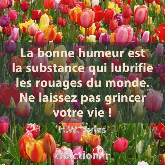 """""""La bonne humeur est la substance qui lubrifie les rouages du monde. Ne laissez pas grincer votre vie !"""" H.W. Byles"""