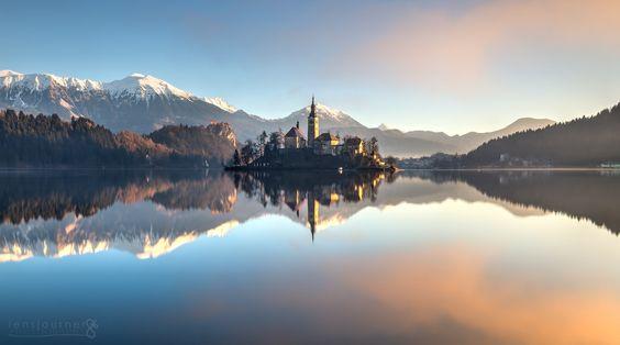 Sunrise on Lake Bled by lensjourner