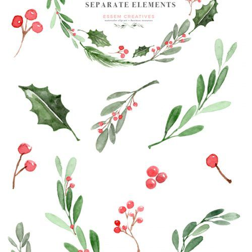 Watercolor Christmas Wreath Clipart Christmas Card Templates 5x7 A4 Watercolor Christmas Cards Watercolor Holiday Cards Christmas Watercolor