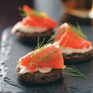 Smoked salmon dijon creme fraiche canapes recipe from for Canape cookbook