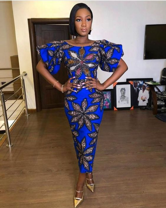 Round Neck Ankara Style With Puff Sleeves