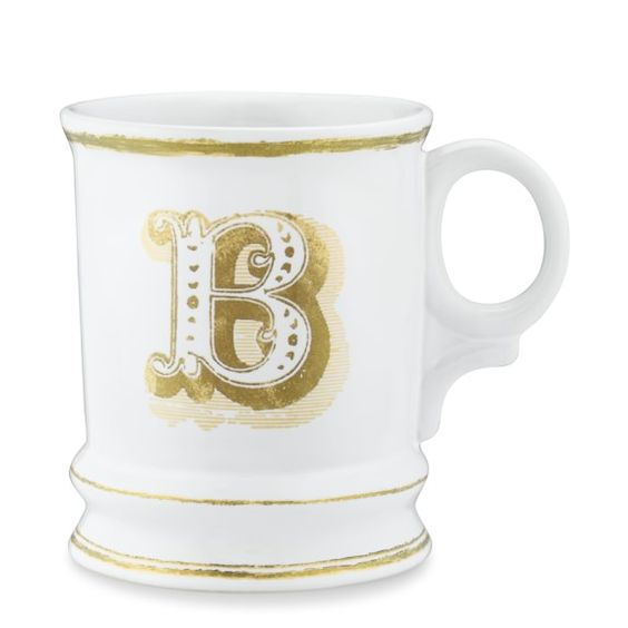 CHECK Gold Monogram Mugs   Williams-Sonoma One for B and one for P!