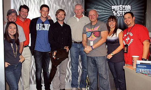 David Morse Cory Monteith with cast and crew of McCanick