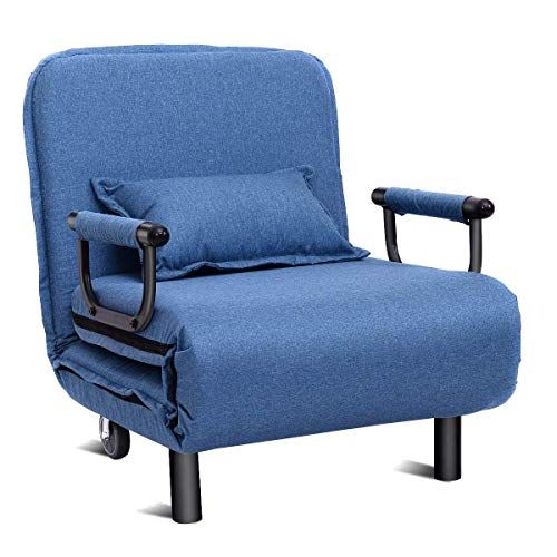 Quelife Folding Sleeper Chair Single Sleeper Convertible Chair Lounger Couch Bed Blue Folding Sofa Bed Convertible Sofa Bed Sofa Bed Blue