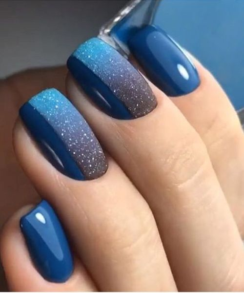 New Incredible Blue Ombre Glitter Nail Art Designs For