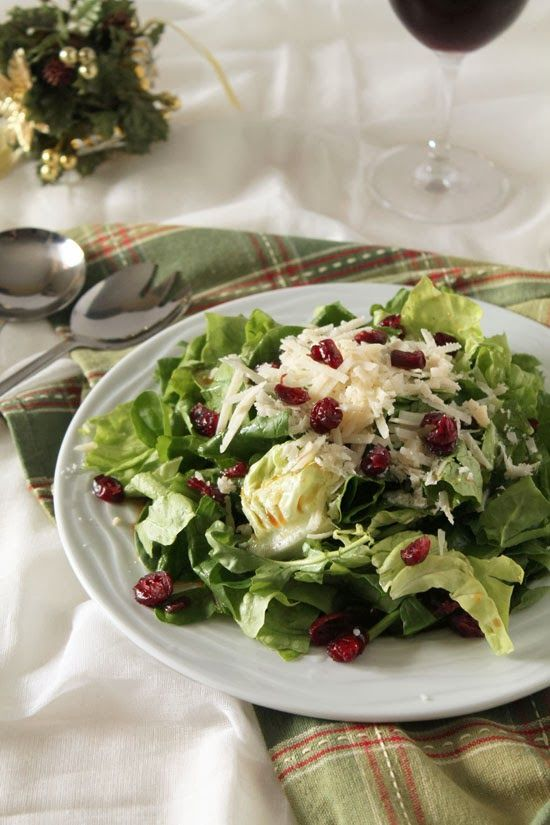 Green salad with cranberries and parmesan
