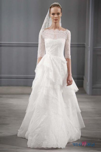 Biała suknia ślubna Monique Lhuillier z koronkowami rękawami #slub #wesele #wedding #sukienki: