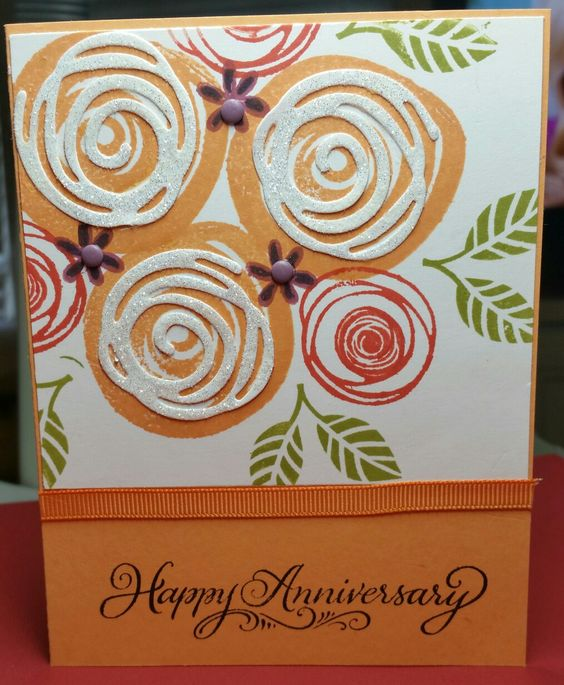 Anniversary card with SU Swirly Bird: