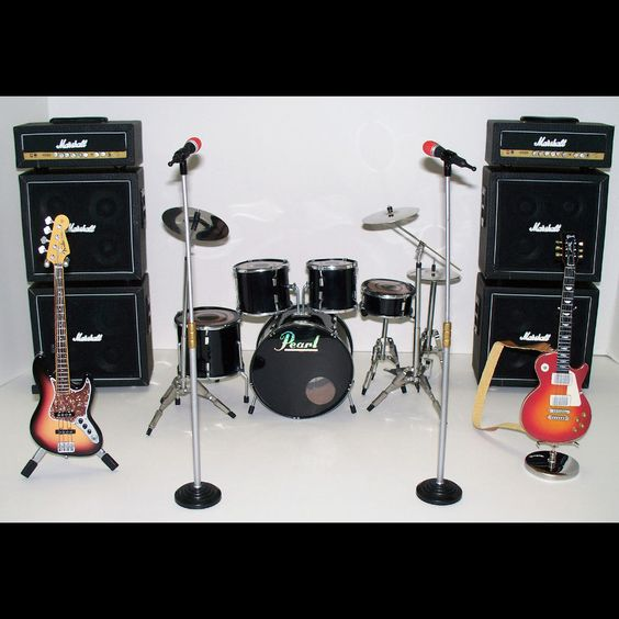 1:6 SCALE ROCK BAND INSTRUMENTS ~Guitars ~Drum Kit ~Marshall Stack ~Microphones