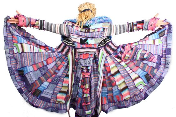 Recycled Sweater Psychedelic Patchwork CIrcus Coat от katwise