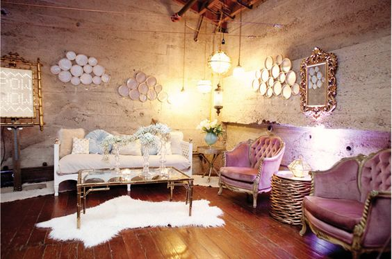 not exactly right but just as idea of softening up the space.  a little boho, glam, romantic