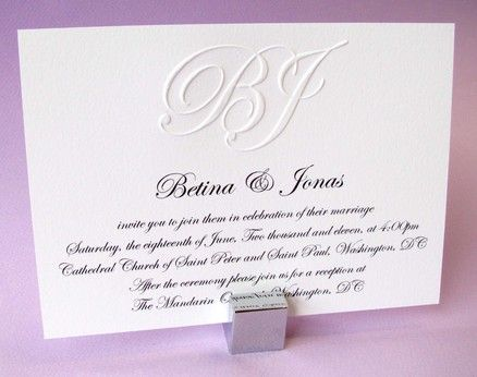 Embossed Monogram Wedding Invitation and Rsvp Sample from Digby – Sample Rsvp Wedding Cards