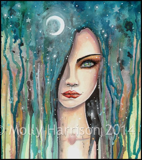 Moon Girl - Abstract Girl Portrait in Watercolor Fantasy Art Print by Molly Harrison: