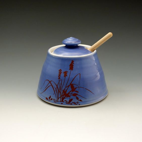 Violet glazed honey pot with bees buzzing by emily murphy on Etsy, $50.00
