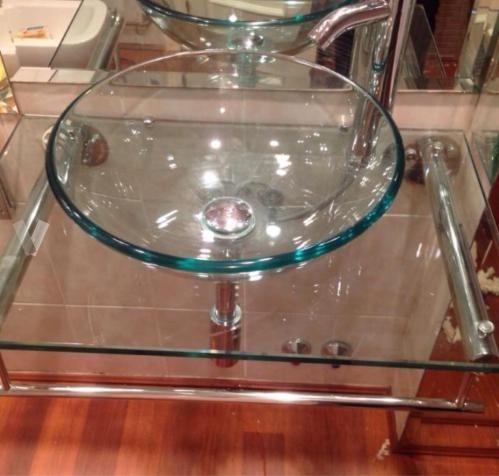 encimera de cristal y lavabo de cristal en madrid vibbo