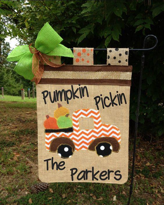 Fall Garden Flag Pumpkin Garden Flag Pickup by TallahatchieDesigns