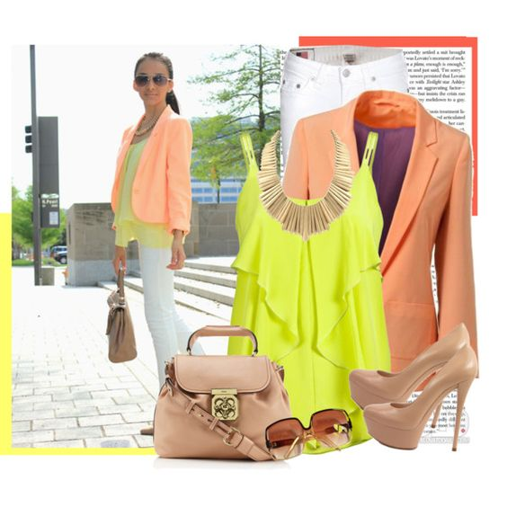 neon and peach