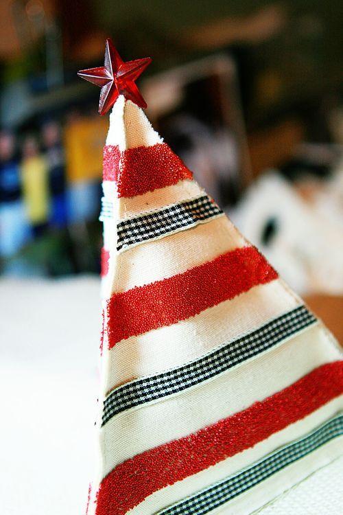 Maya Roadcanvas pennants glued together to make a Christmas tree. Alcohol ink colored star pin and ribbon by Maya Road!