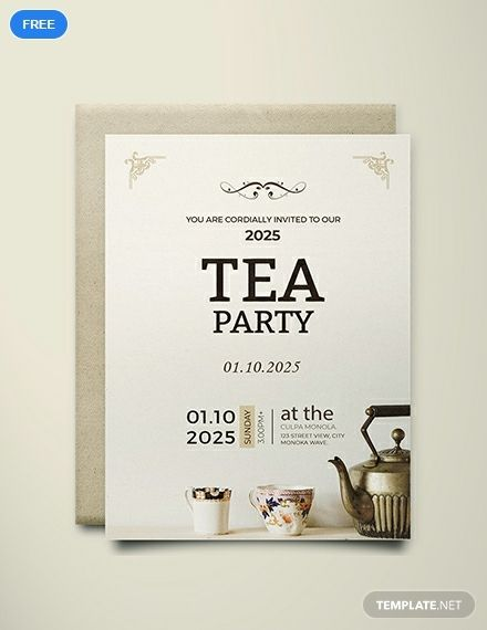 High Tea Party Invitation Card Template Free Pdf Word Doc Psd Apple Mac Pages Illustrator Publisher Outlook High Tea Invitations Party Invite Template Tea Party Invitations