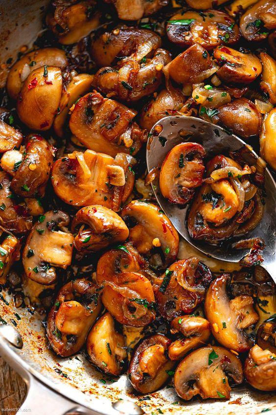 Onion Garlic Butter Mushrooms Skillet