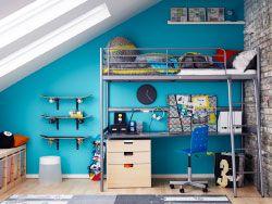 chambre de pr ado avec lit mezzanine argent et dessous un bureau et une commode id e. Black Bedroom Furniture Sets. Home Design Ideas