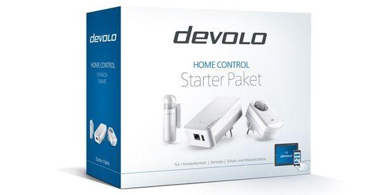Das devolo Home Control besteht aus der Steuerzentrale, einem Tür-/Fensterkontakt sowie der Schalt- und Messsteckdose.