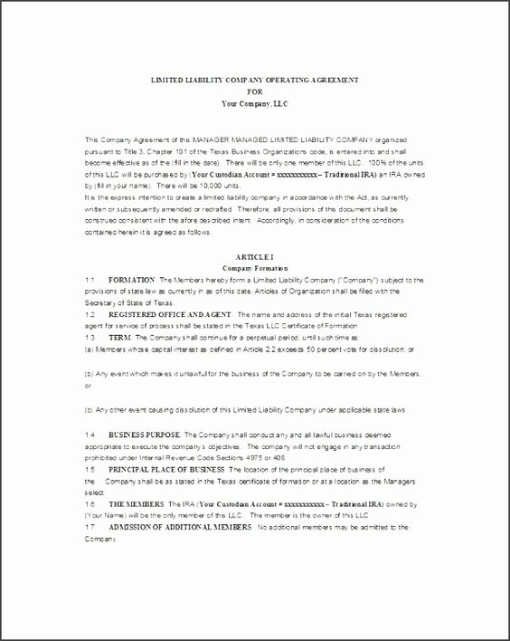 Texas Llc Operating Agreement Template ApnZ Lovely Manager