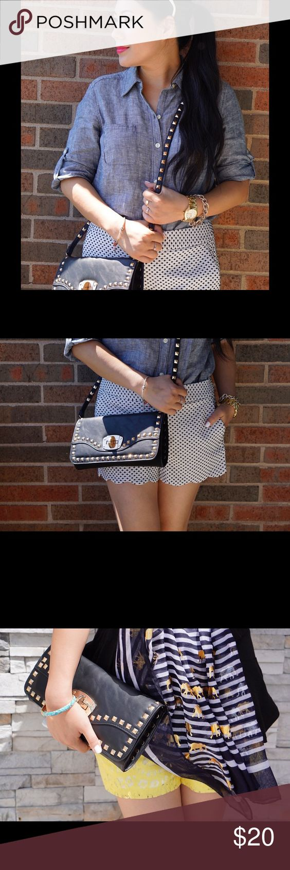 Black studded cross body bag / clutch Almost new! Only used for blog photos! Bags Clutches & Wristlets
