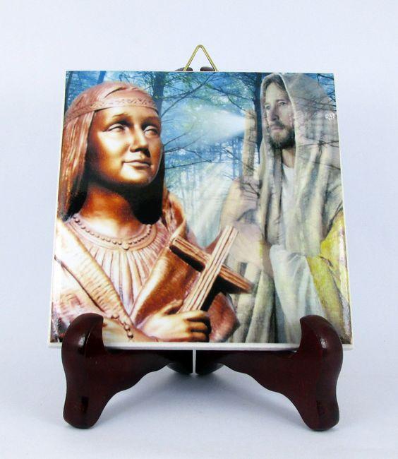 Saint Kateri Tekakwitha Ceramic Tile HQ Made in Italy St. Holy Art Mod. 2 Icon Catholic Christianity Holy by TerryTiles2014 on Etsy