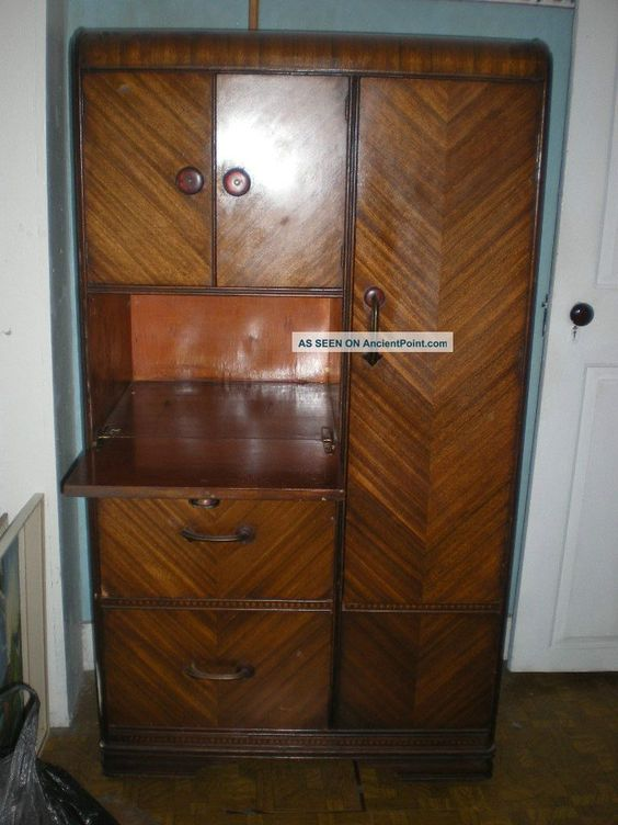 WATERFALL STYLE FURNITURE | Waterfall Style Chifferobe Armoire Wardrobe  Closet 1900 1950