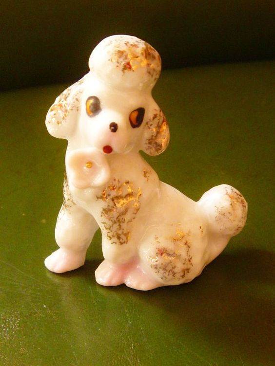 White Ceramic Poodle FIgurine Japan by AuntyNellsCloset on Etsy