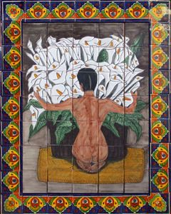 A Mexican tile mural looks pretty on a kitchen wall backsplash, bathroom wall or table-top. Calla Lilies mural sku 88020 is available in made to order dimensions. rustic tiles can be also installed in swimming pools, fountains and outside of the buildings.