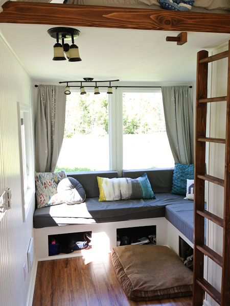 B s 39 tiny living room putting the lounge space under the for Tiny house interior ideas