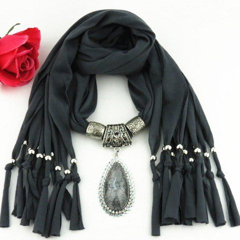Stylish Faux Gem Long Water Drop Pendant Embellished Jewelry Scarf For Women