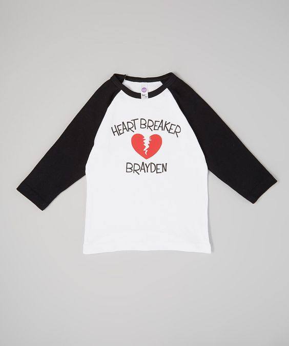 Another great find on #zulily! Fly Duds Black 'Heartbreaker' Personalized Raglan Tee - Toddler & Kids by Fly Duds #zulilyfinds