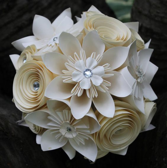 Paper Flowers For Weddings: Origami And Spiral Bouquet