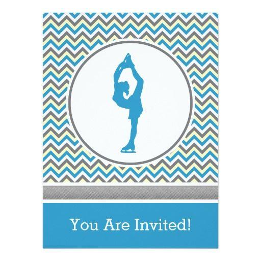 Blue Chevron Figure Skating Party Invitation Zazzle – Zazzle Party Invitations