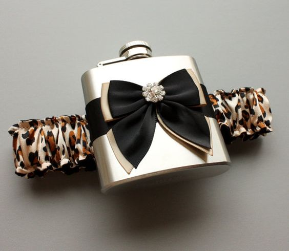 Leopard Print FLASK GARTER - Garter with Flask - Bridal / Bachelorette / Bridesmaid Gift - Ready to Ship