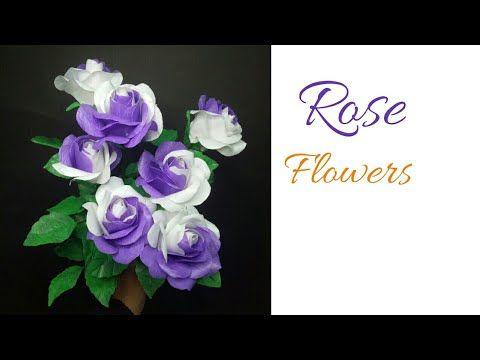 Bunga Mawar Dua Warna Dari Plastik Kresek Tutorial Rose Flower Making From Plastic Carry Bag Youtube Rose Flower Flowers Flower Stamen