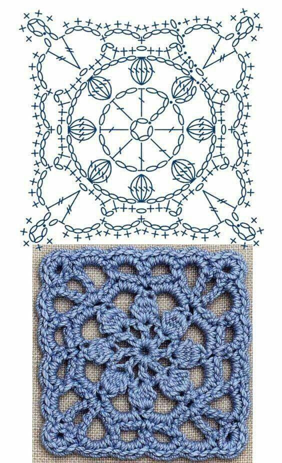 Pin de Andrea Ríos en Granny | Pinterest | Crochet, Crochet squares ...
