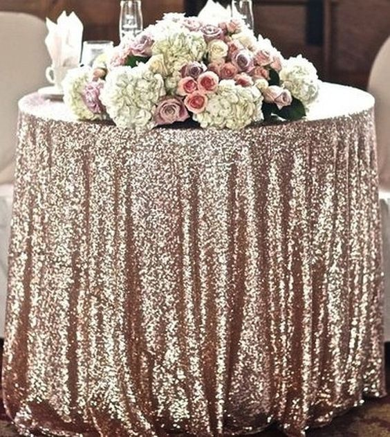 Champagne Blush Sequin Table Linen Sweet Heart Table