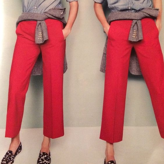 Red Ankle Pants Skinny Fit // Cotton + Spandex // Cute and Comfy // Like New Pants Straight Leg